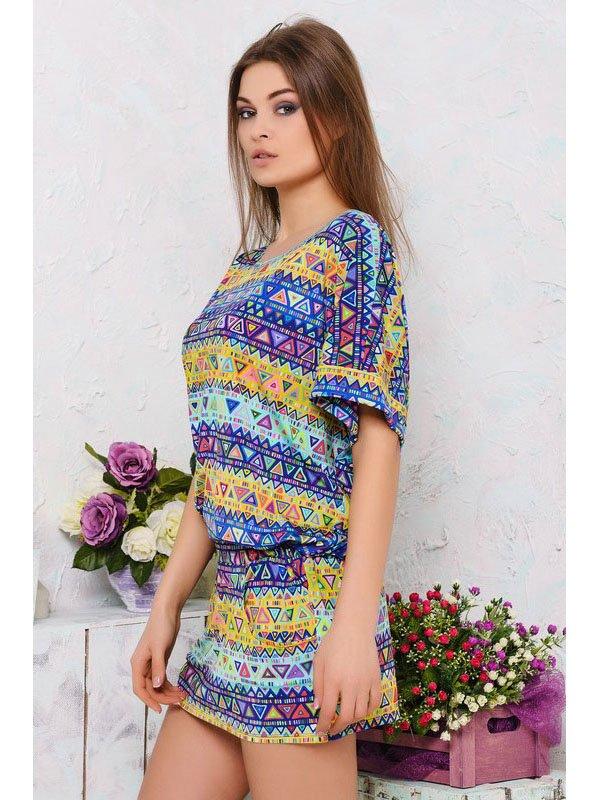 Платье разноцветное в принт | 2559530 | фото 2