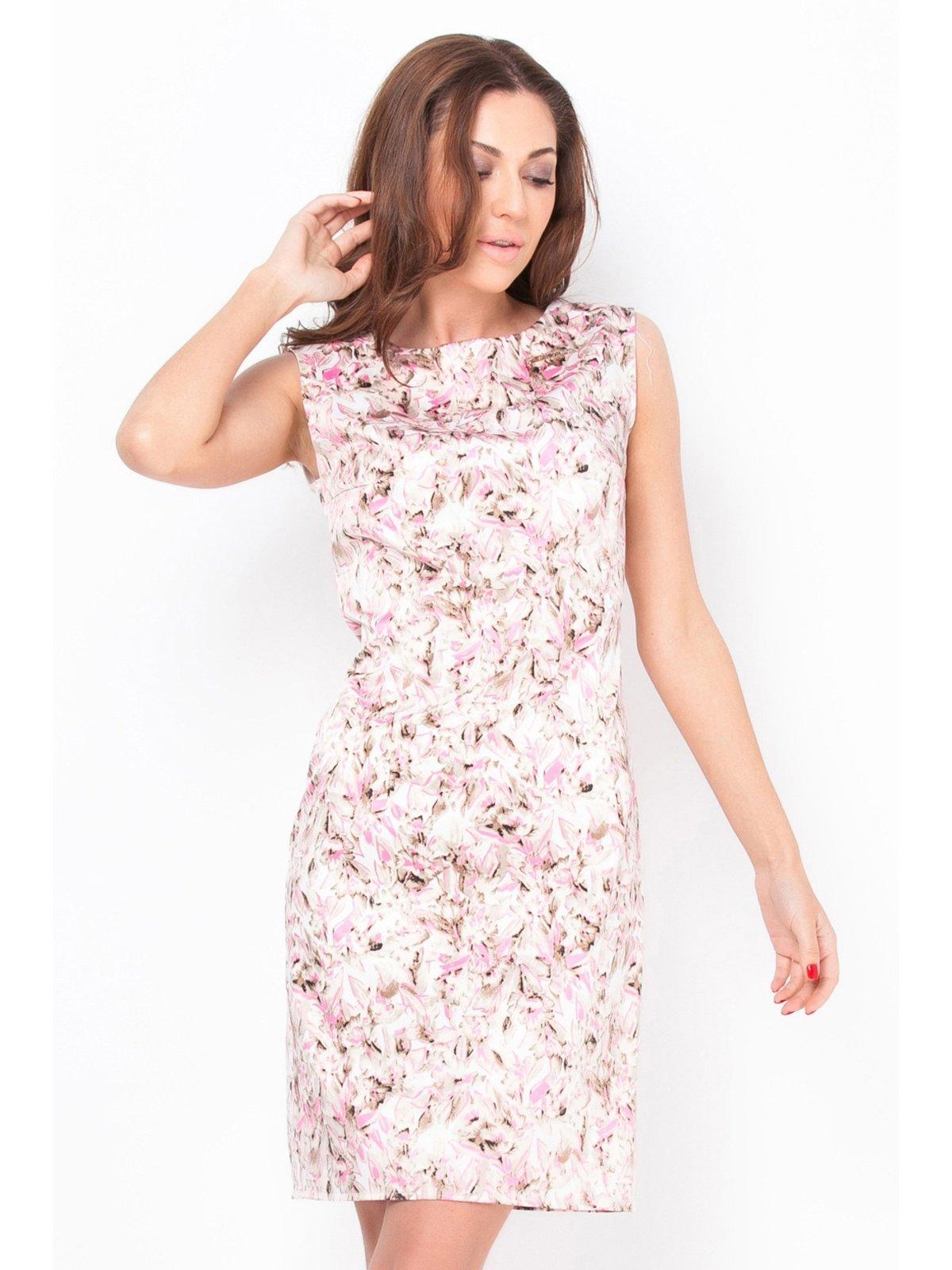Платье бело-розовое в принт | 2559587