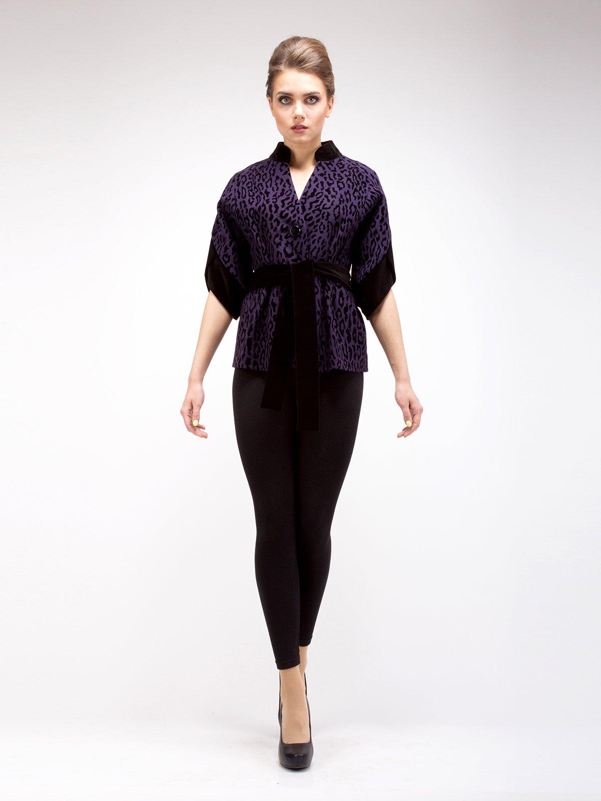 Пальто фиолетовое анималистической расцветки | 2580806