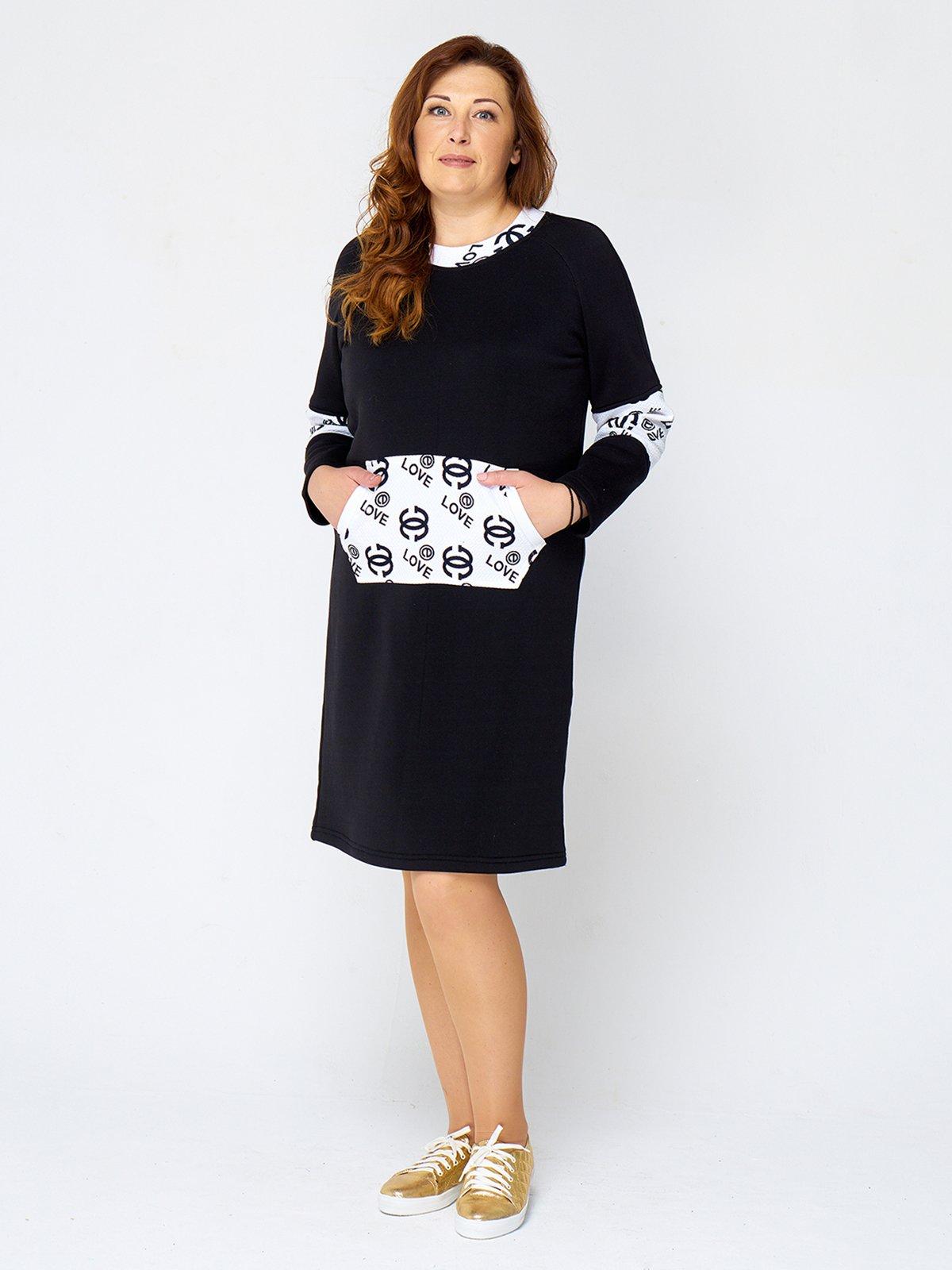 Сукня чорна з принтом | 2599637