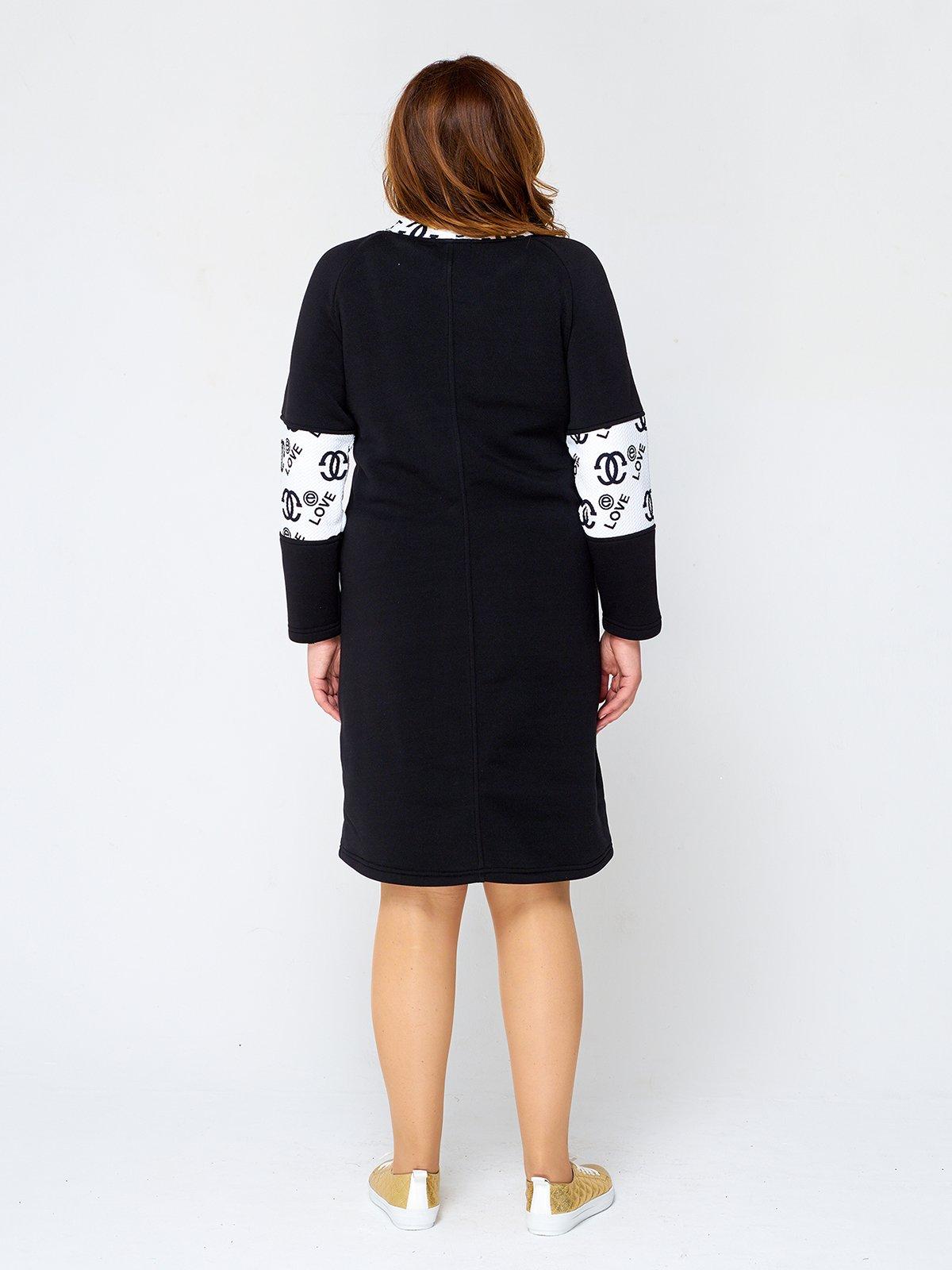 Платье черное с принтом | 2599637 | фото 2