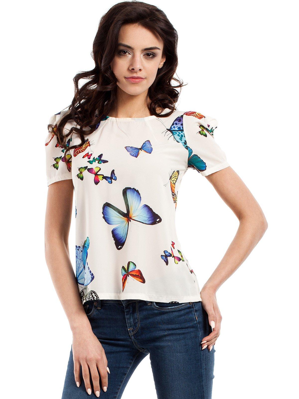Блуза молочного кольору в принт | 2616821