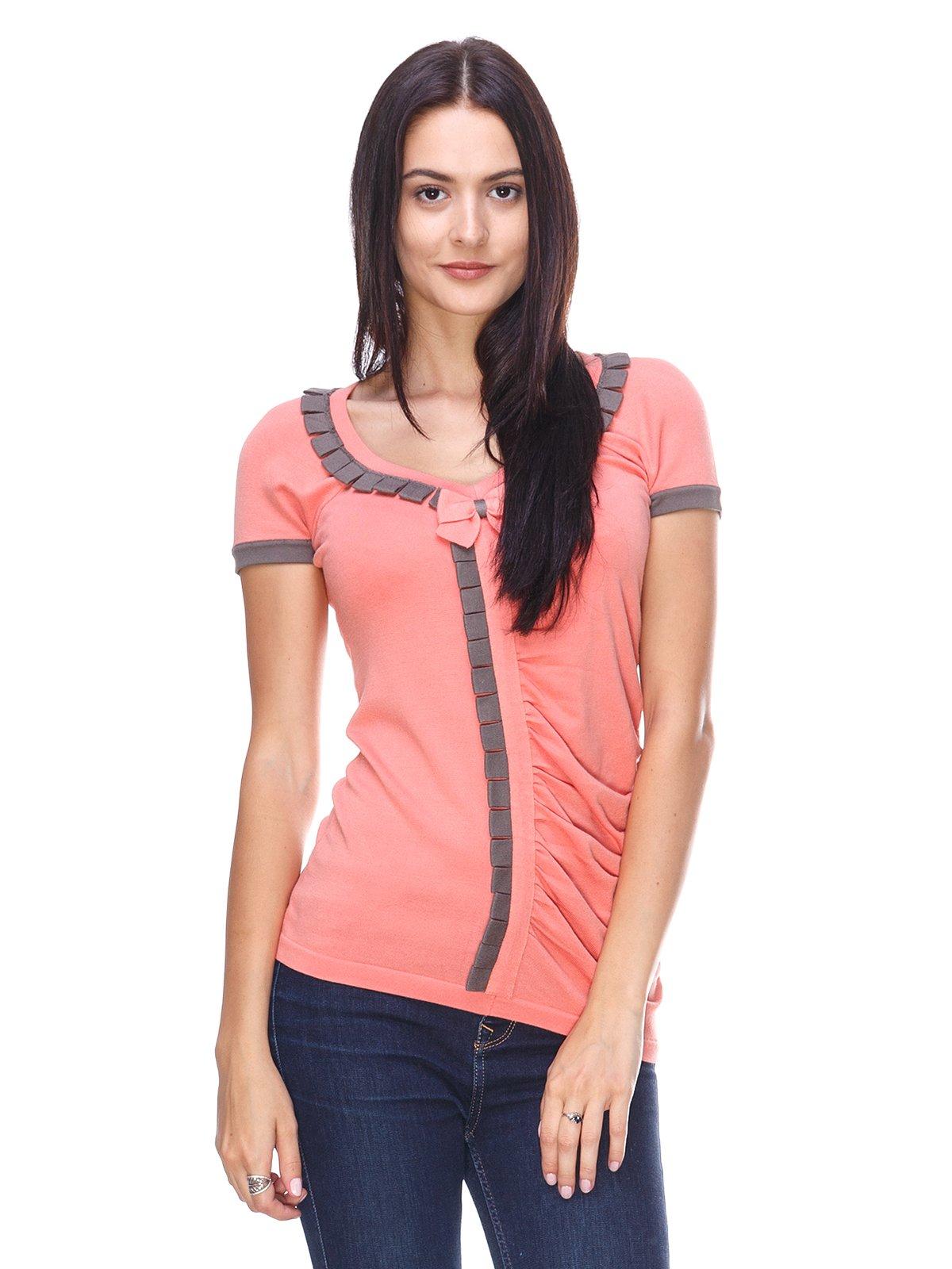 Блуза помаранчева з контрастним оздобленням | 2619399