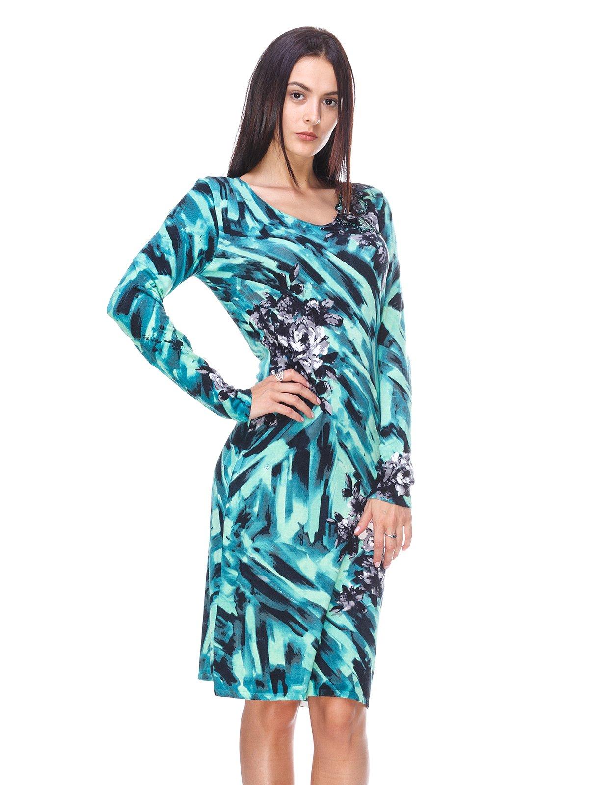 Сукня бірюзова в принт | 2480966