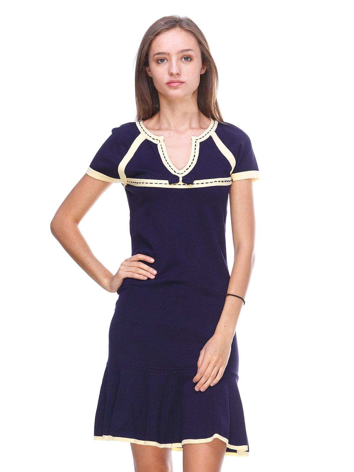 Платье темно-синее с контрастной отделкой | 2619427