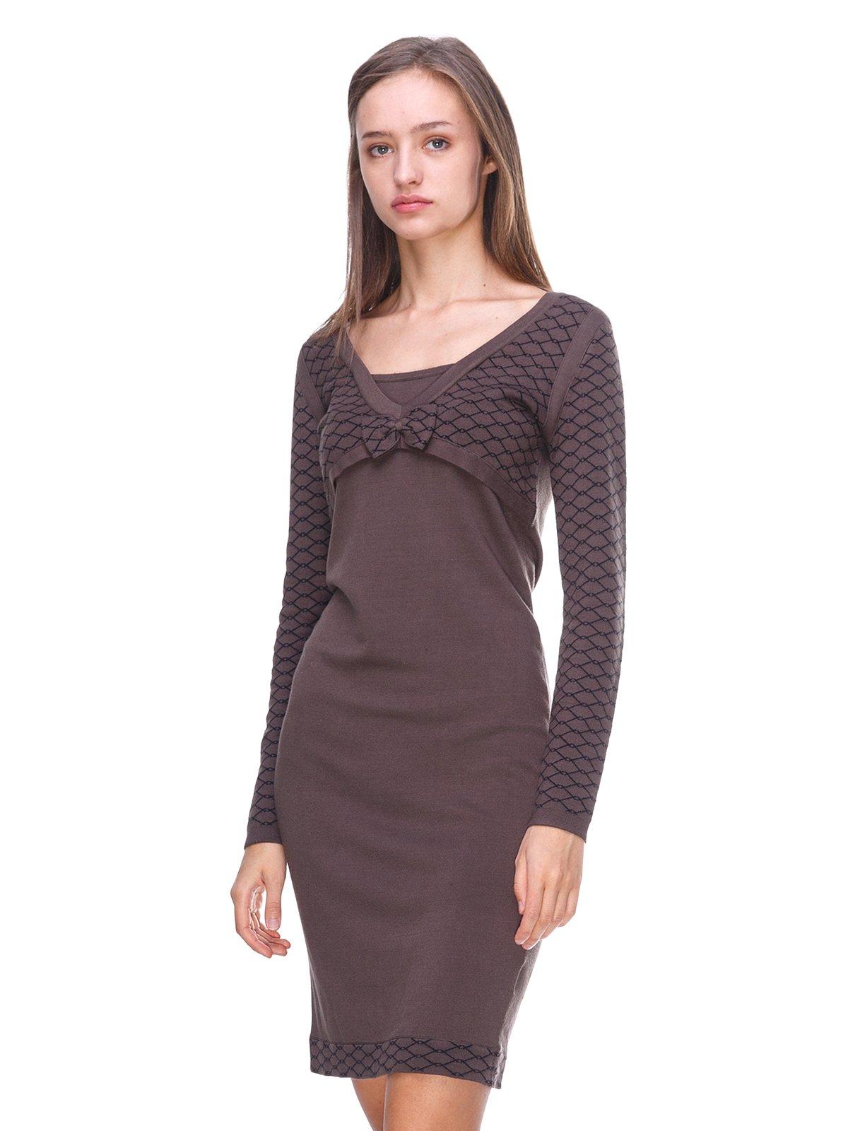 Платье коричневое в принт | 2619440