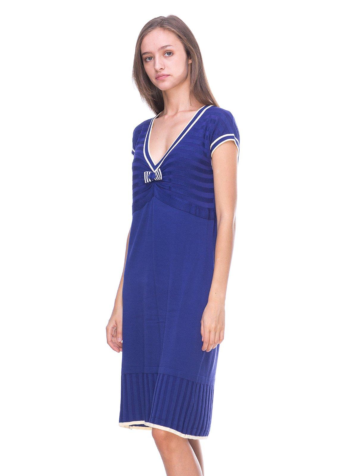 Платье синее с контрастной отделкой | 2619332