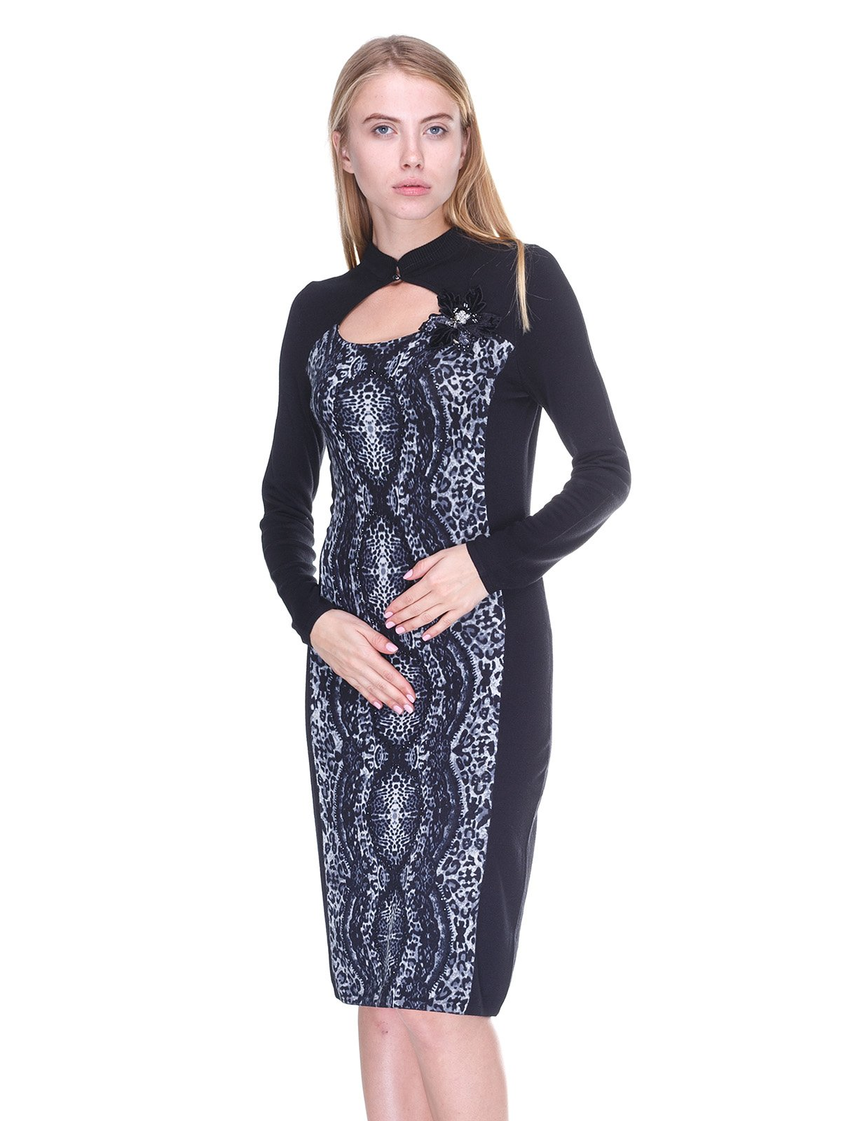 Платье черное в принт   2619140