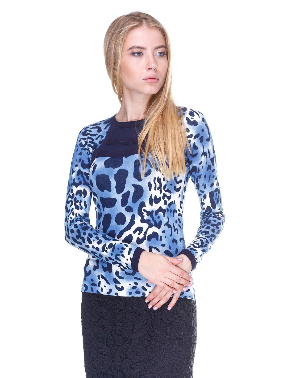 Лонгслив синий анималистической расцветки | 2635237