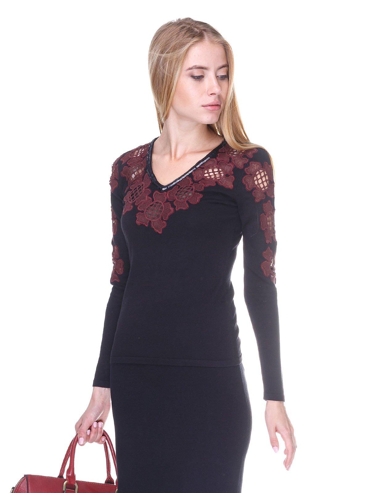 Пуловер черно-бордовый   2635285