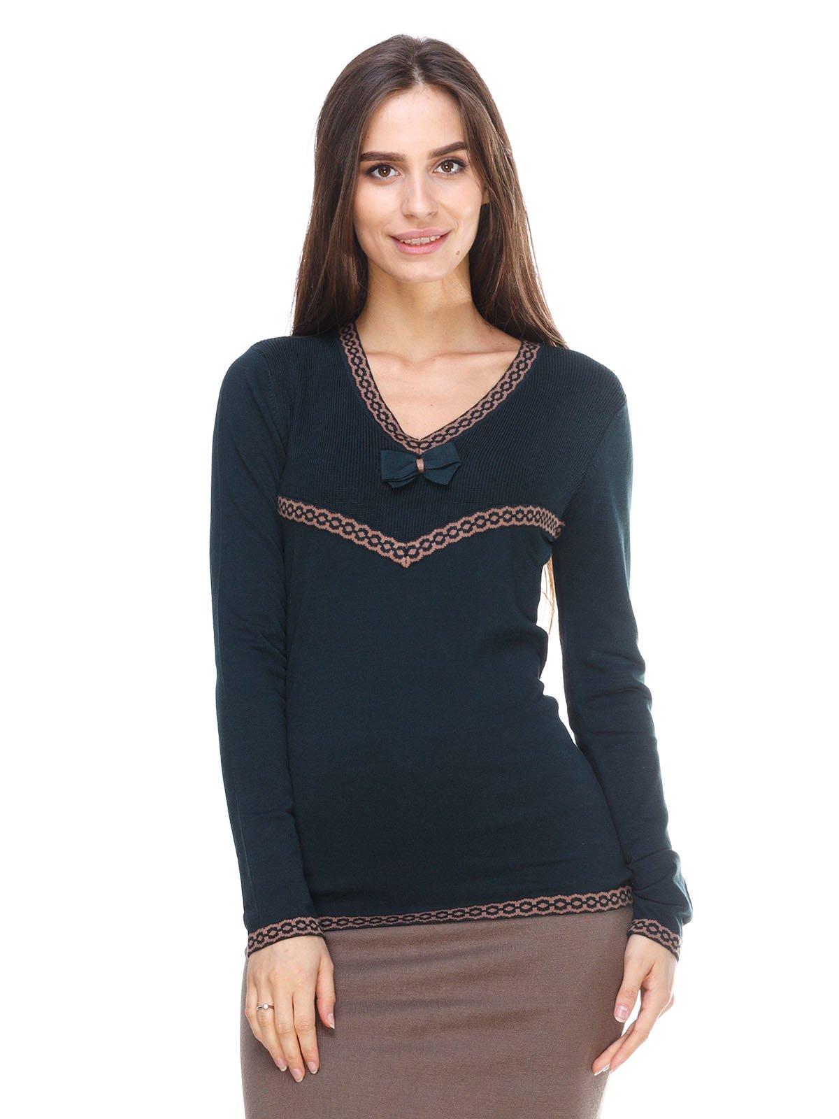 Пуловер темно-зелений з візерунком | 2635320