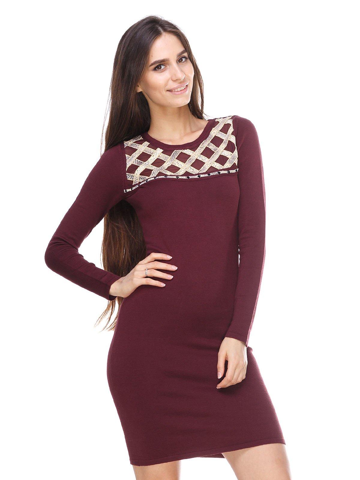 Платье бордовое с декором | 2635242