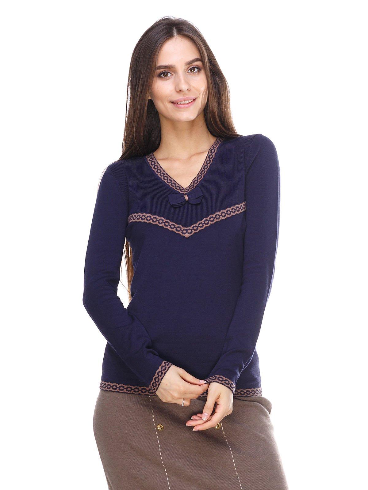 Пуловер синий с узором | 2635321