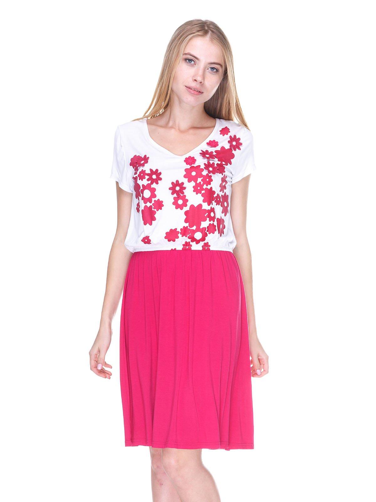 Сукня біло-рожева з принтом і аплікаціями | 2434168