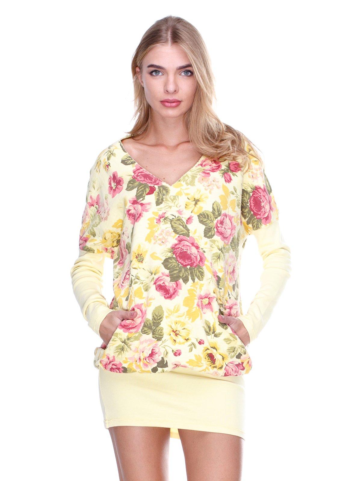 Платье желтое с цветочным принтом | 2638545