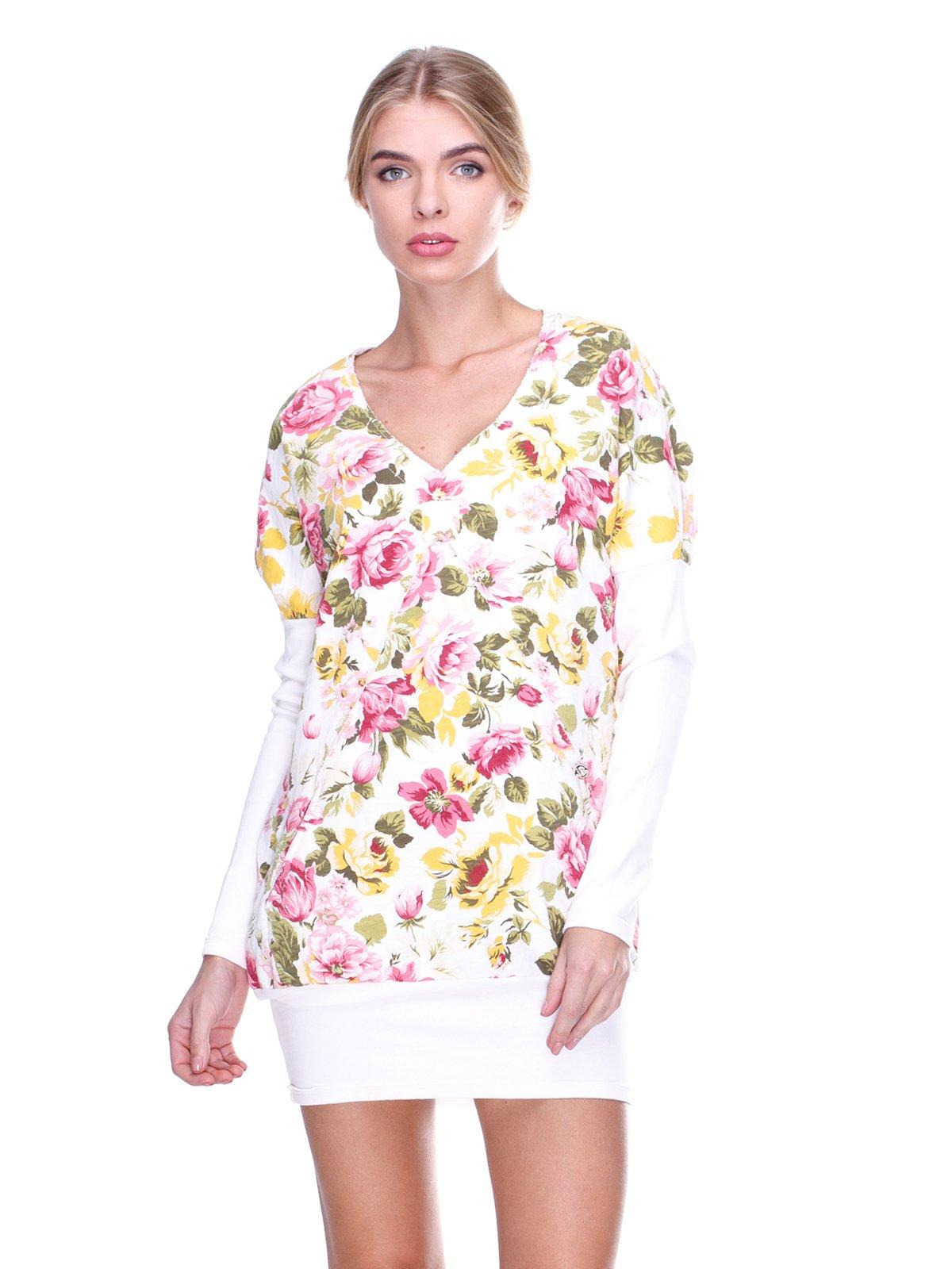 Платье белое с цветочным принтом | 2638543
