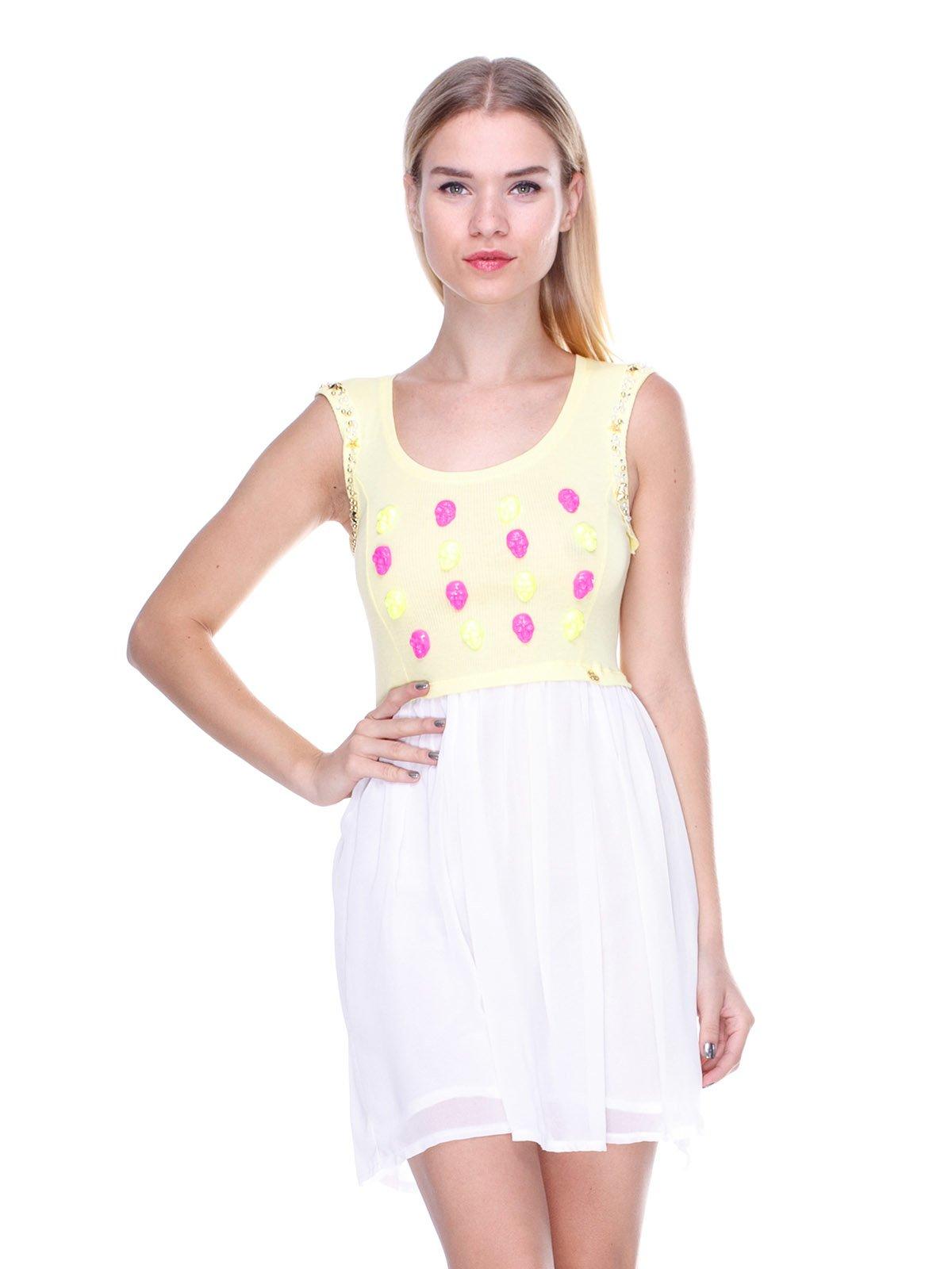 Платье двухцветное с декором | 2638516
