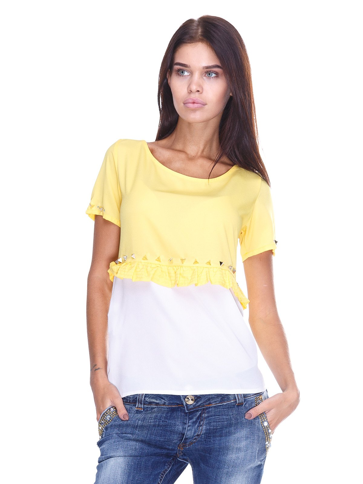 Блуза желто-белая | 2645152