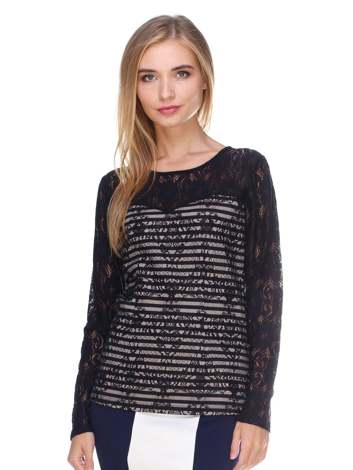 Блуза бежево-черная | 2627853