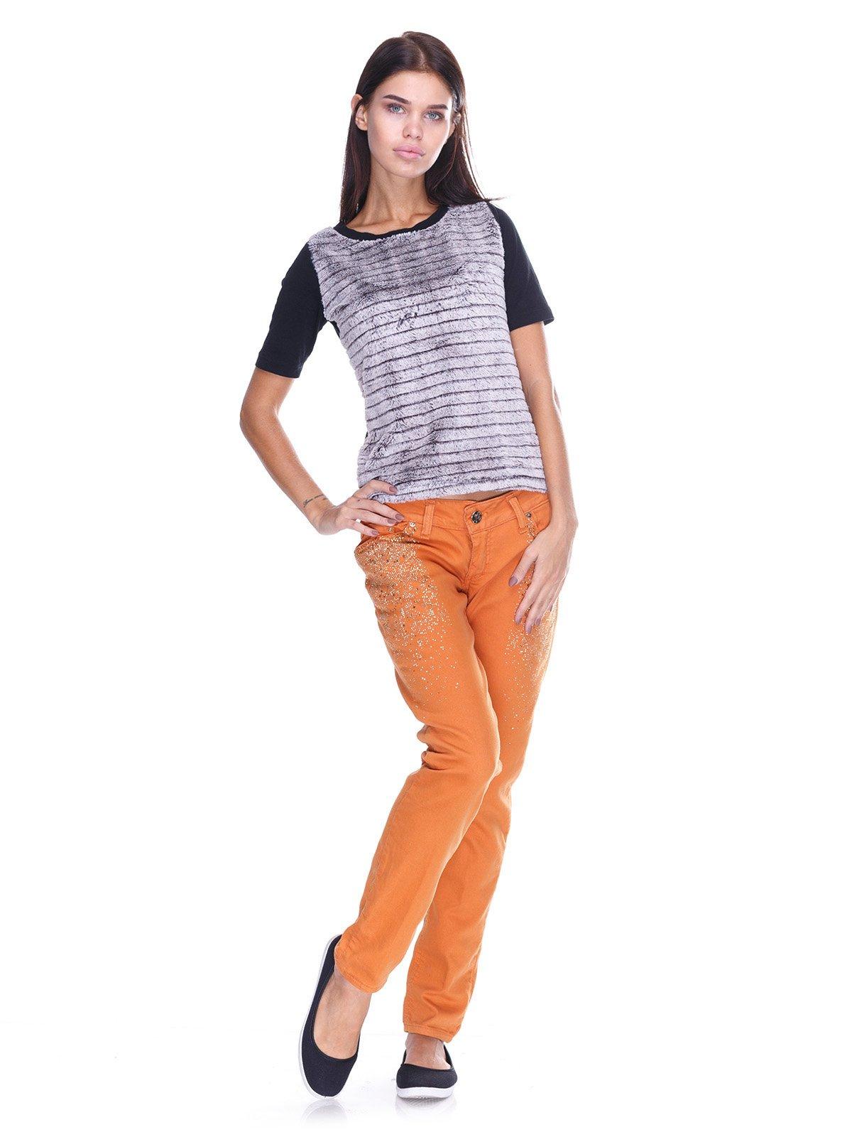 Джинси цегляного кольору з декором   2638841