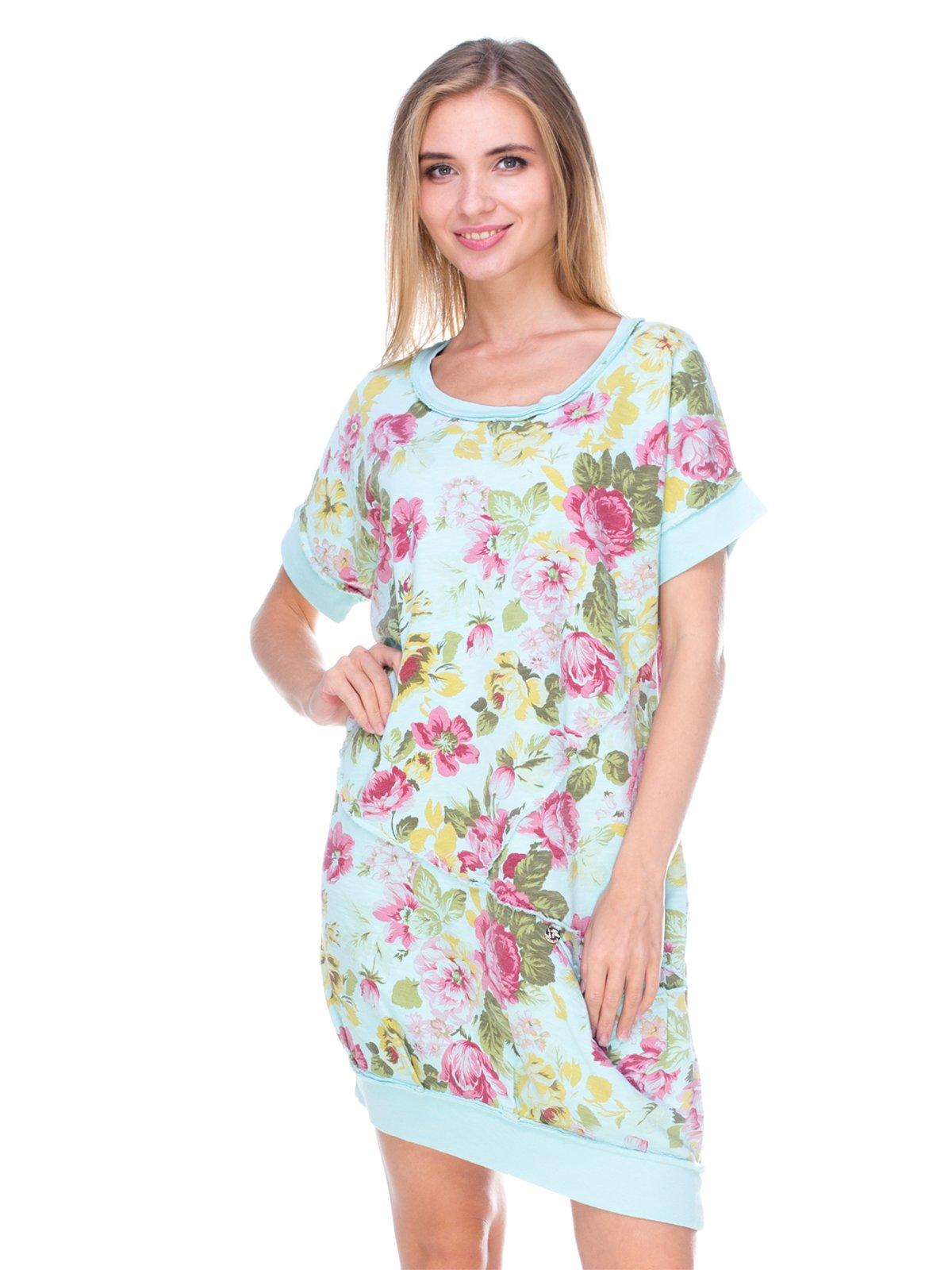 Платье голубое с цветочным принтом | 2638546