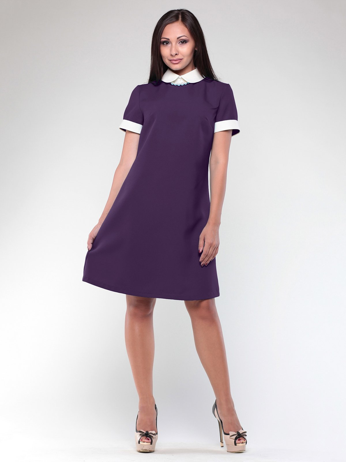 Платье фиолетово-белое | 2593091