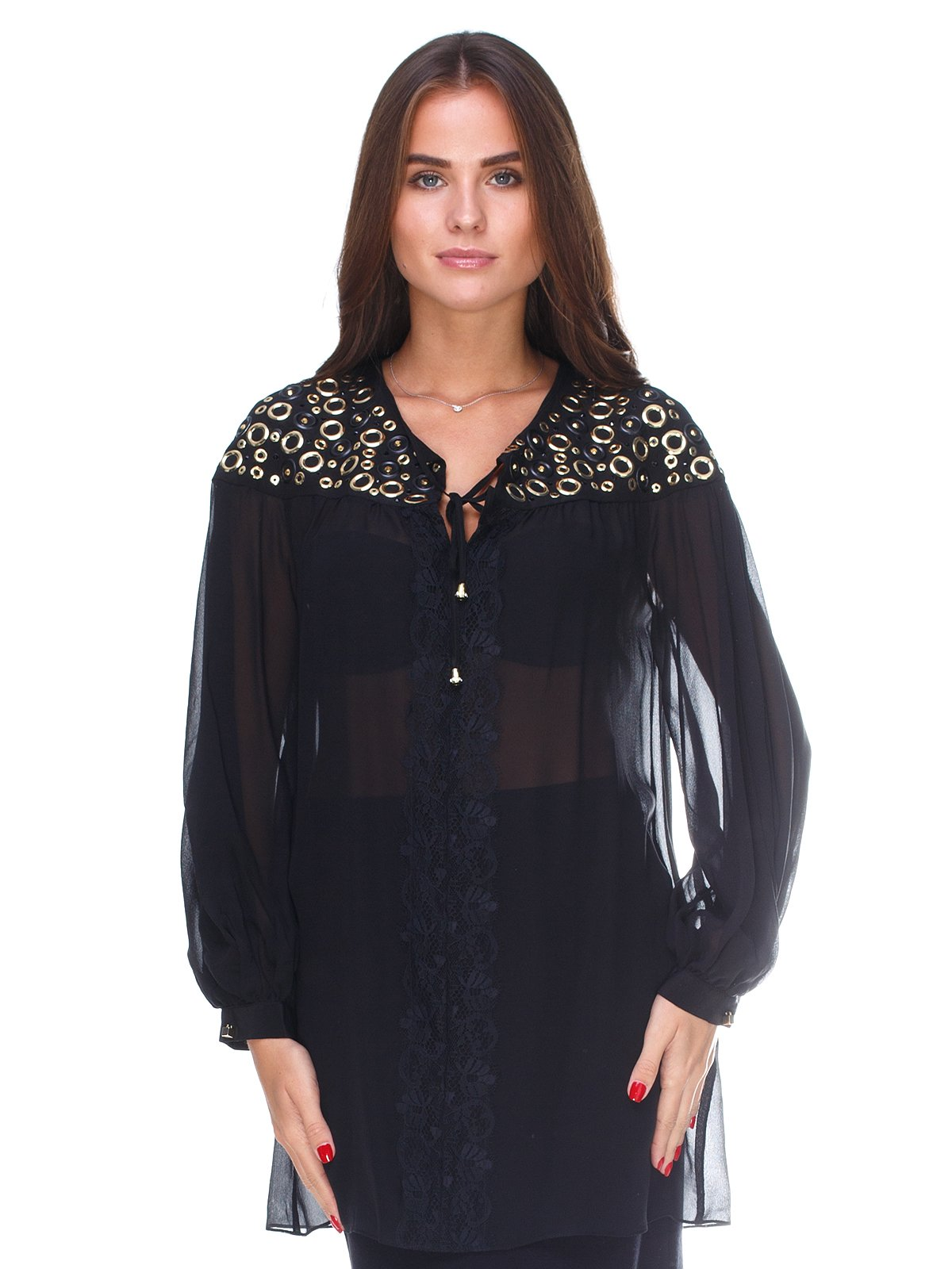 Блуза чорна з декором | 2640522