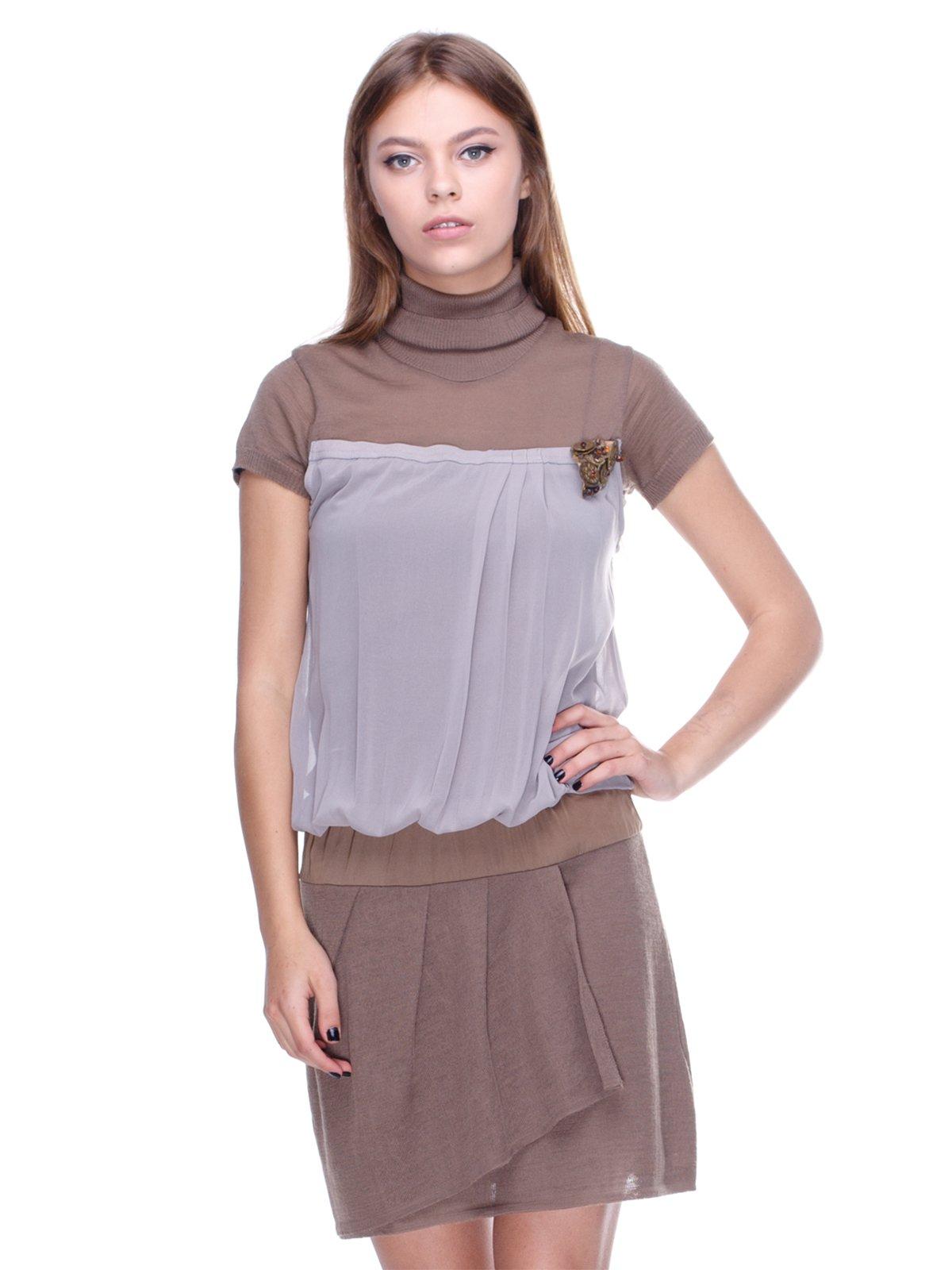 Платье серо-бежевое | 2659897