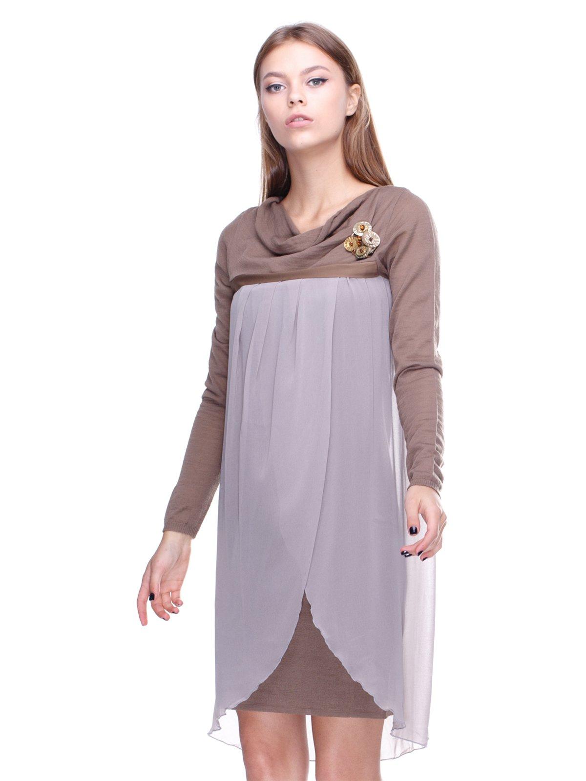 Платье серо-бежевое | 2659906