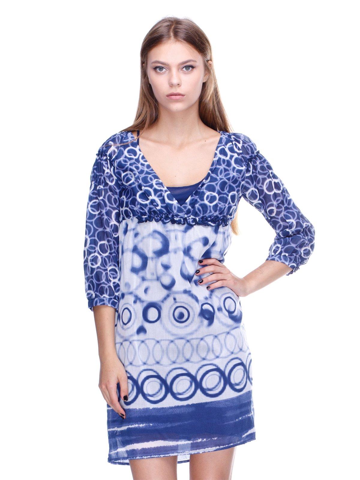 Платье сине-белое в принт | 2659973