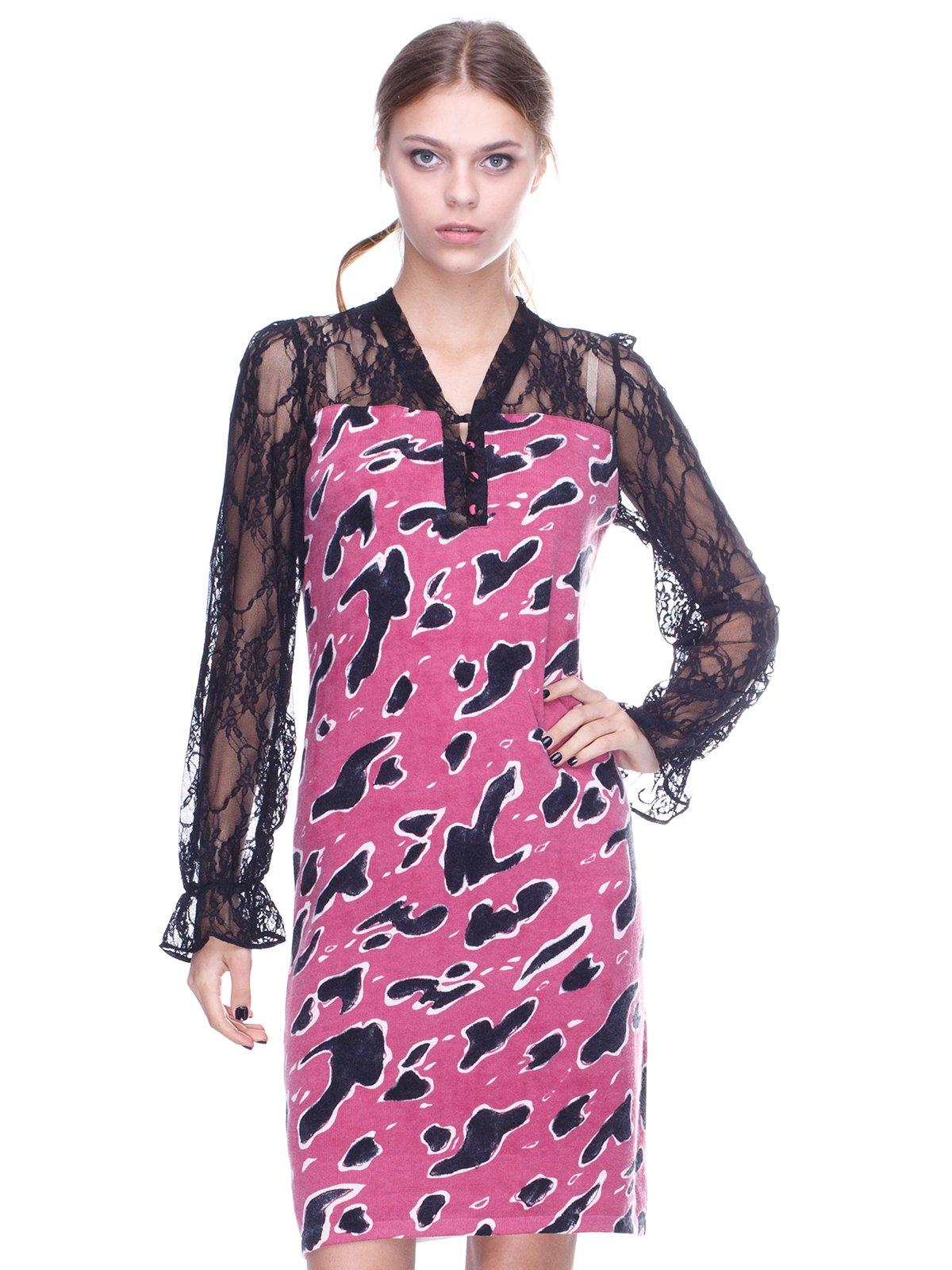 Сукня чорно-рожева у принт | 2316570