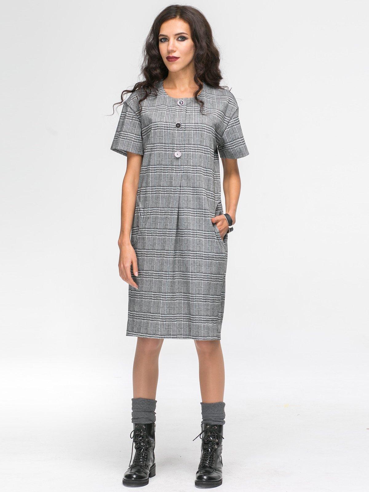 Платье серое в клетку | 2703955