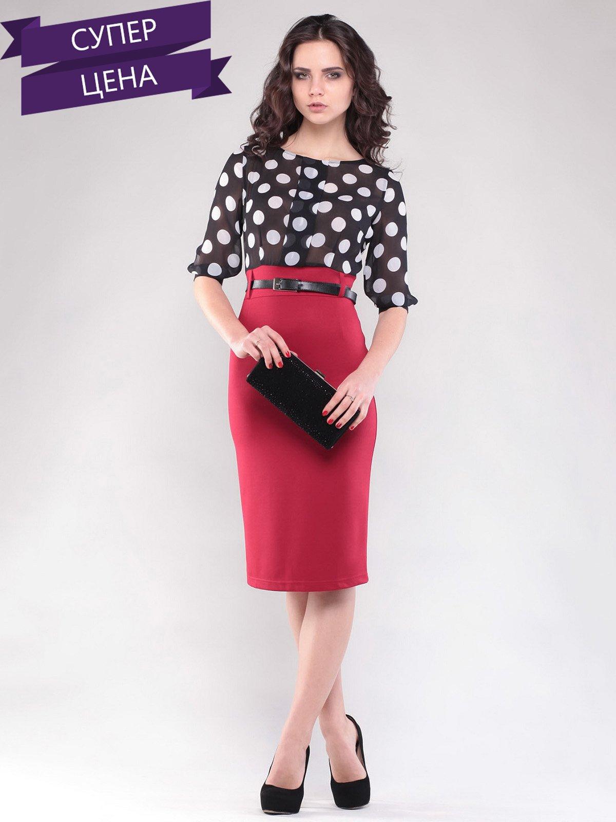 aba81e53f7c Платье черно-красное в горох — Rebecca Tatti