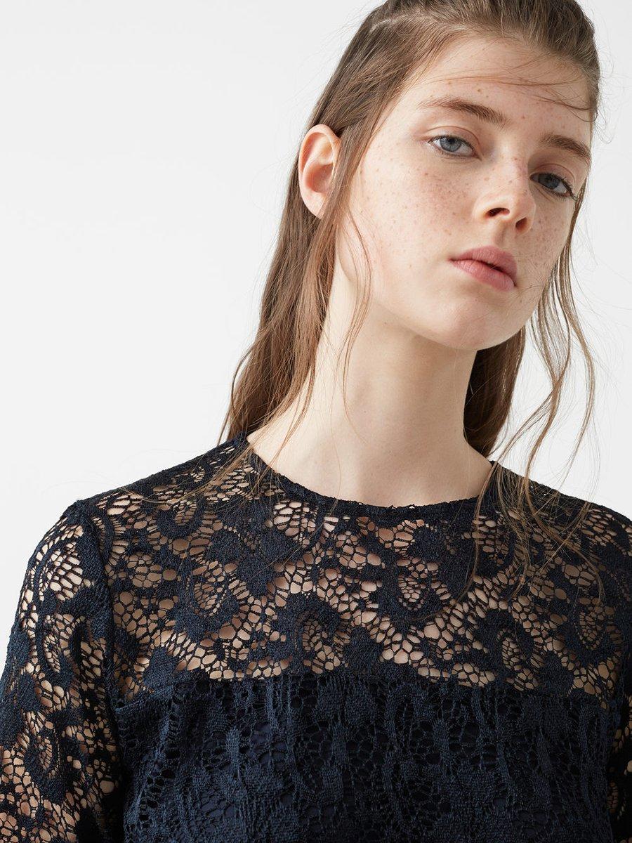 Платье темно-синее ажурное | 2722923 | фото 4