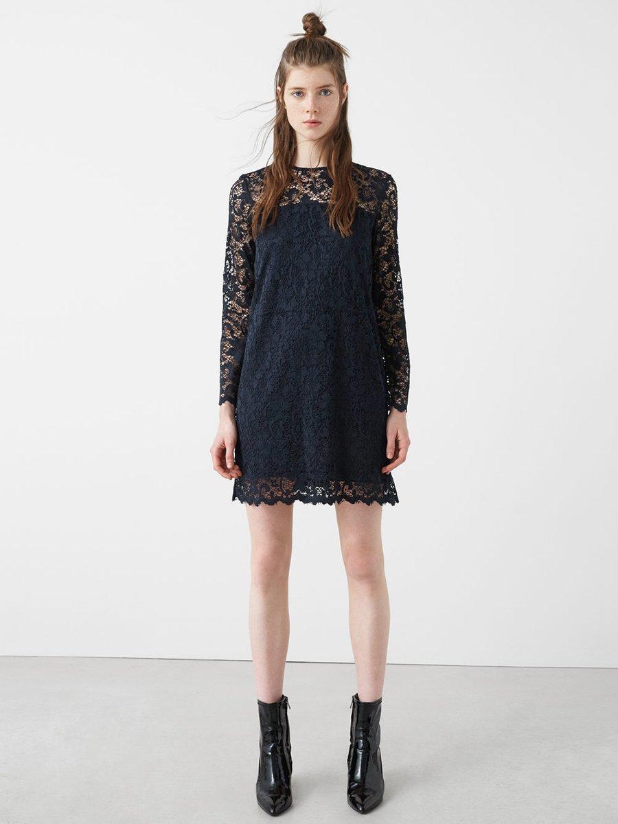 Платье темно-синее ажурное | 2722923 | фото 5