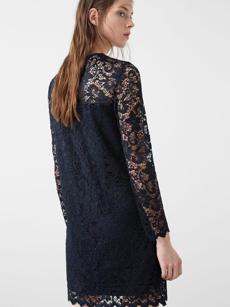 Платье темно-синее ажурное | 2722923 | фото 3