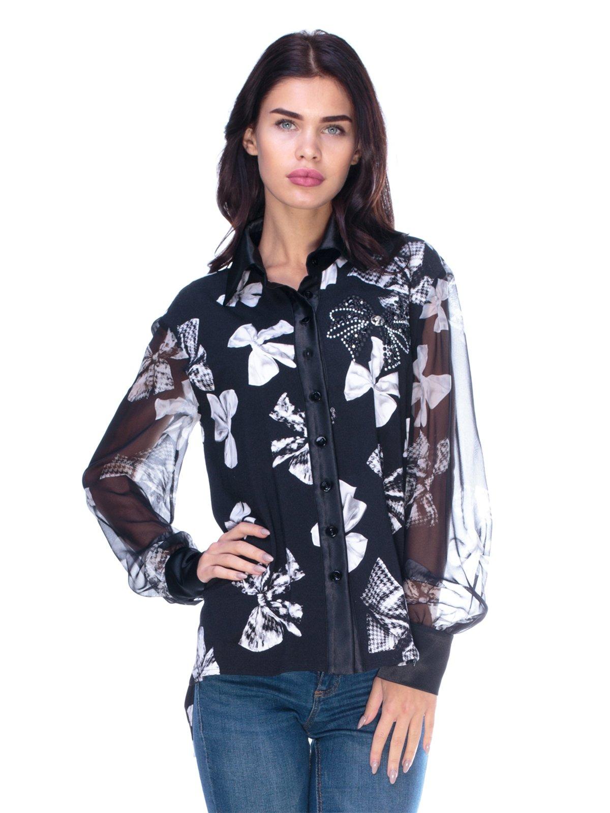Блуза черная в принт | 2787032