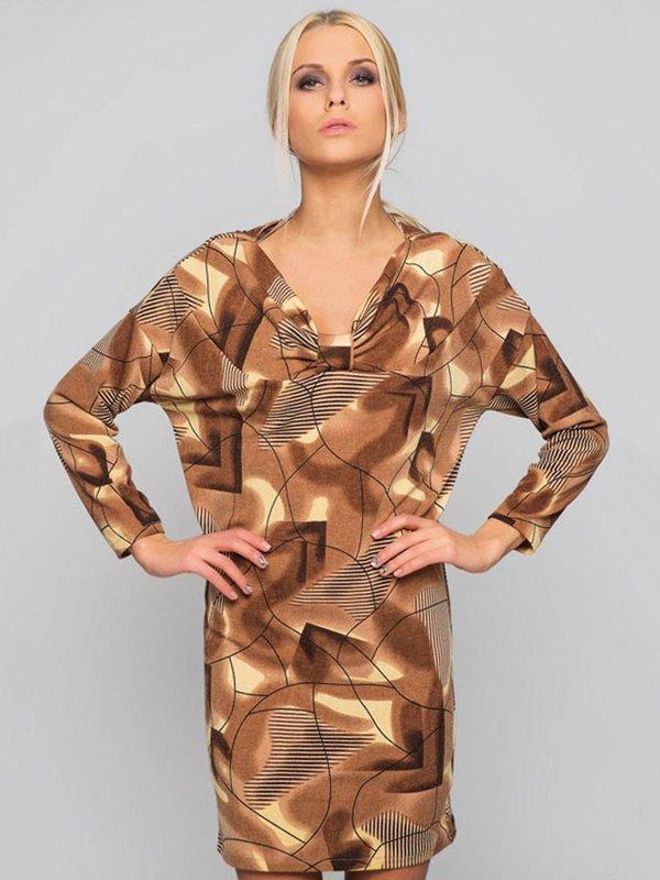 Платье коричневое с абстрактным принтом | 2789232