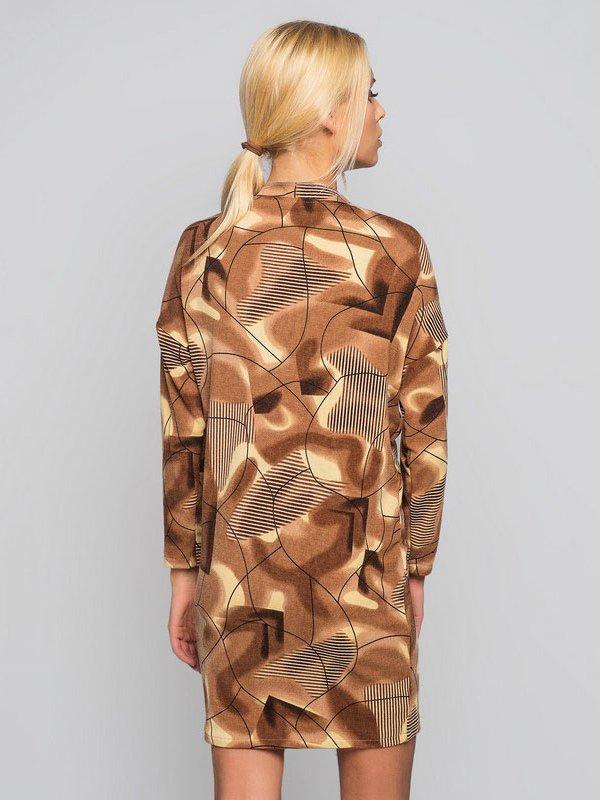 Платье коричневое с абстрактным принтом | 2789232 | фото 2