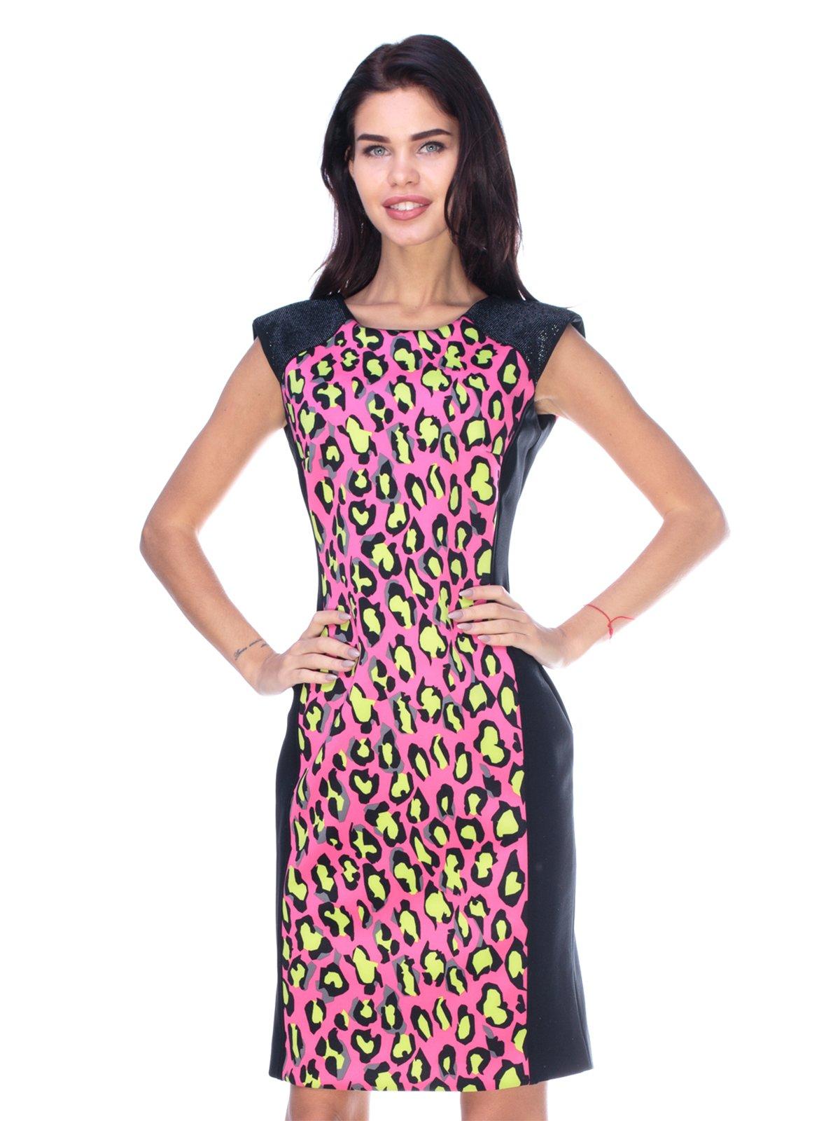Сукня чорно-рожева з принтом | 2787013