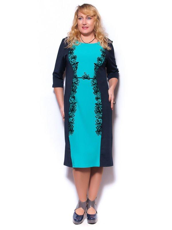 Платье сине-бирюзовое | 2822825
