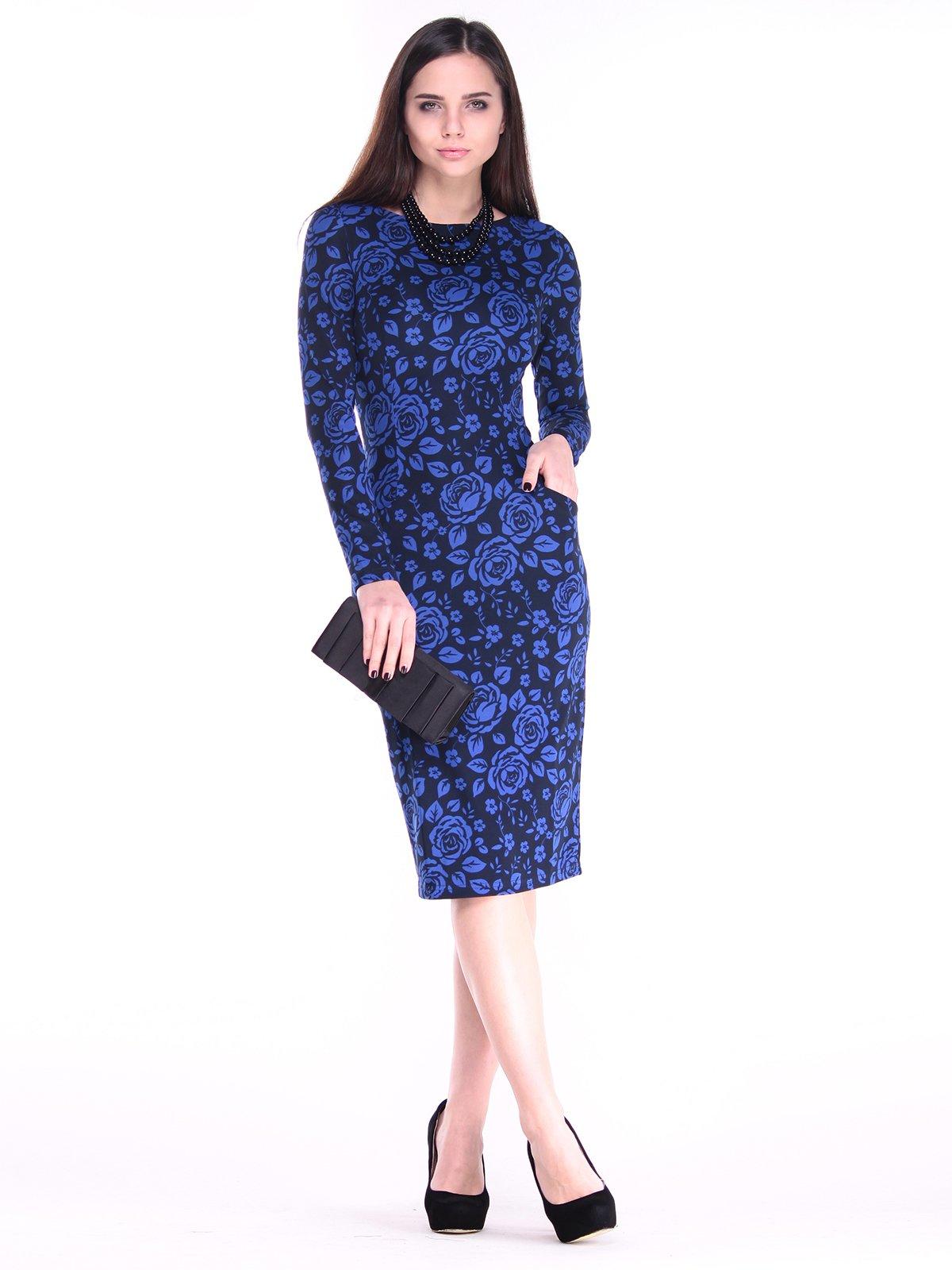 Платье черно-синее в цветы | 2849573