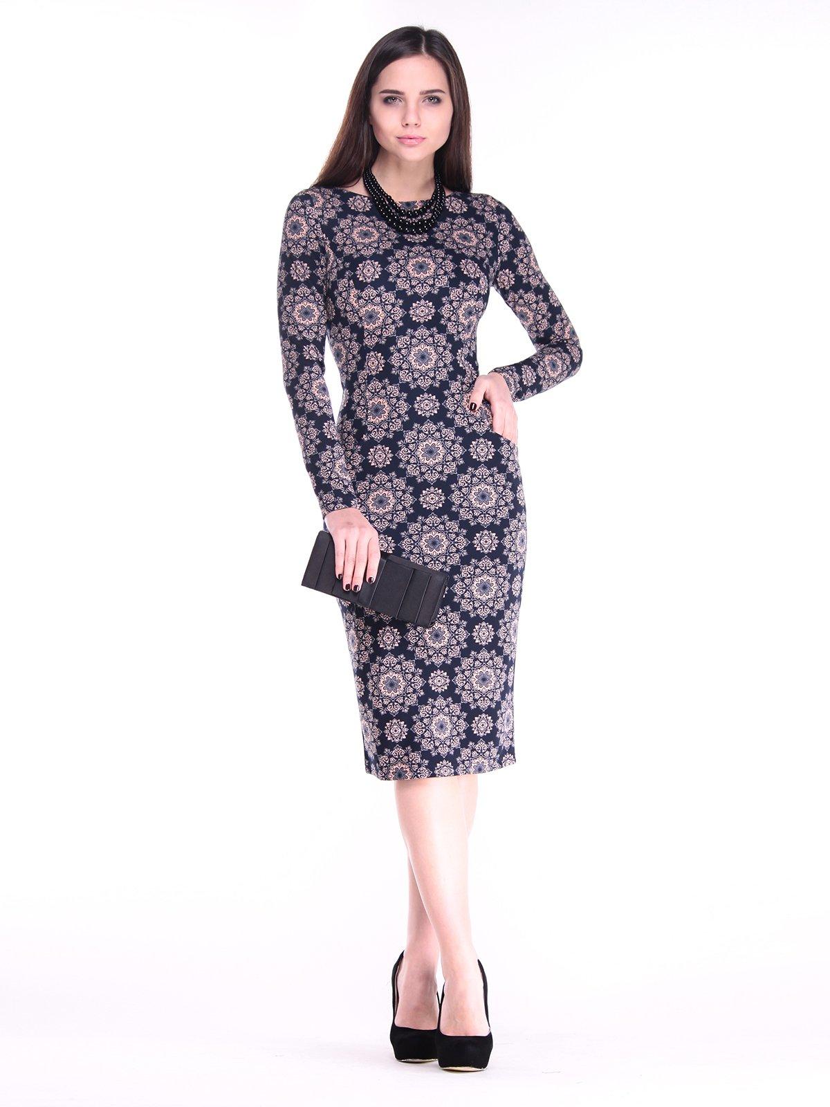 Сукня чорна в принт | 2849574