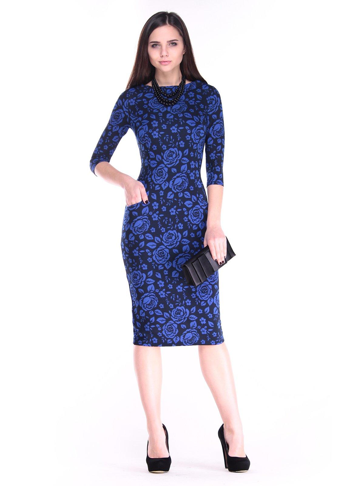 Сукня синя в принт | 2849564