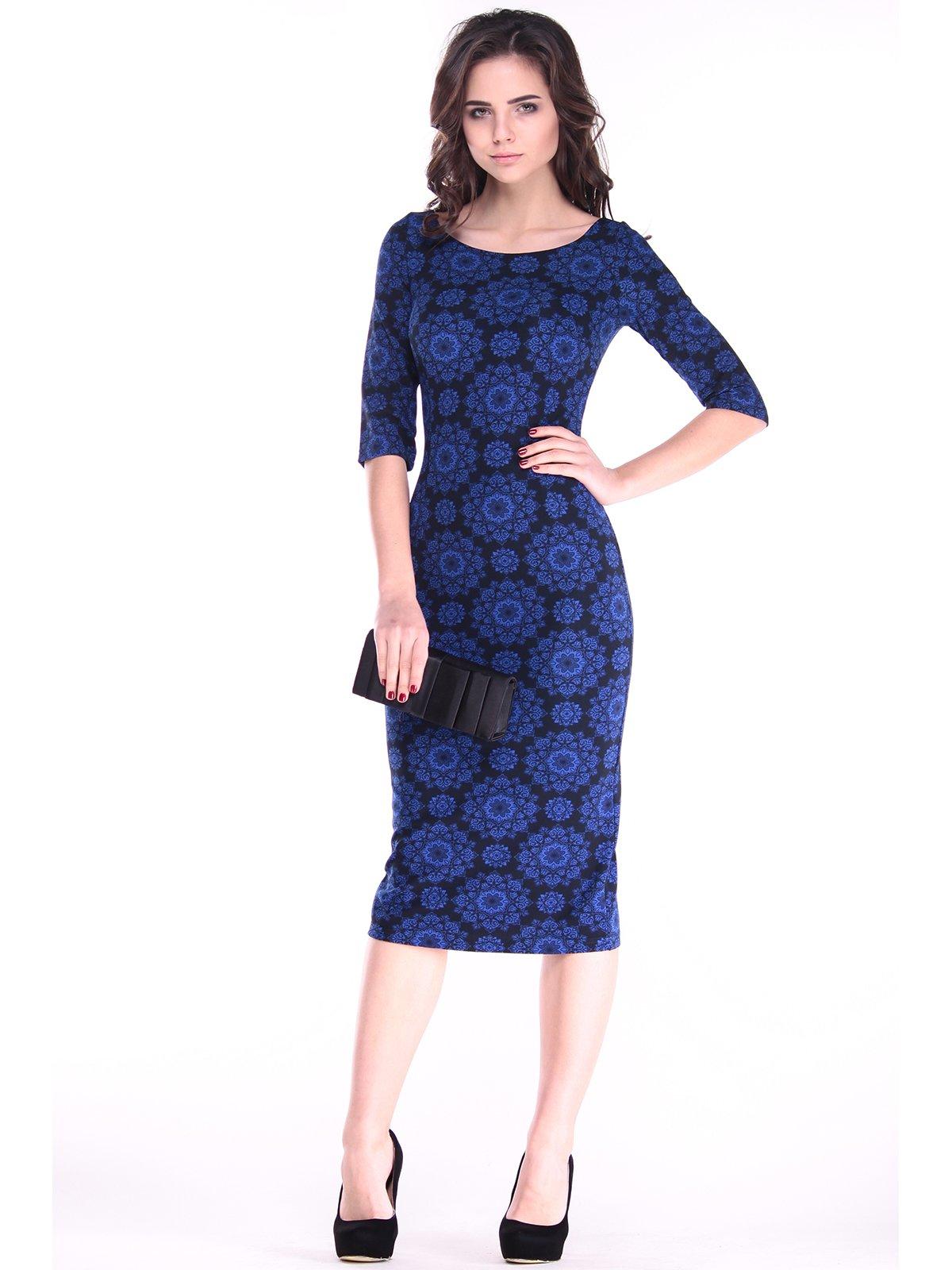 Платье синее в принт | 2861638
