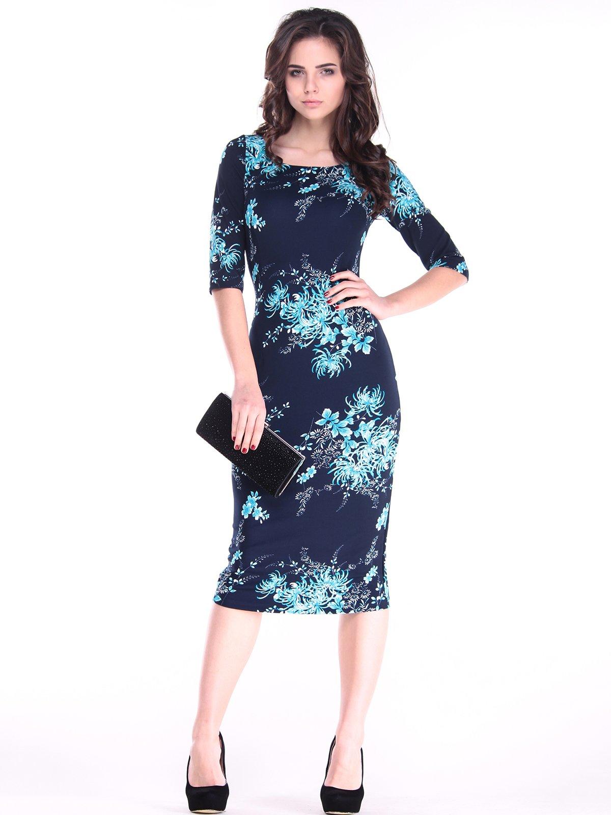 Сукня синя в принт | 2862606