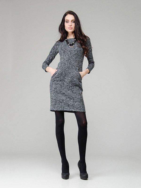 Платье серое из буклированной ткани | 2875404
