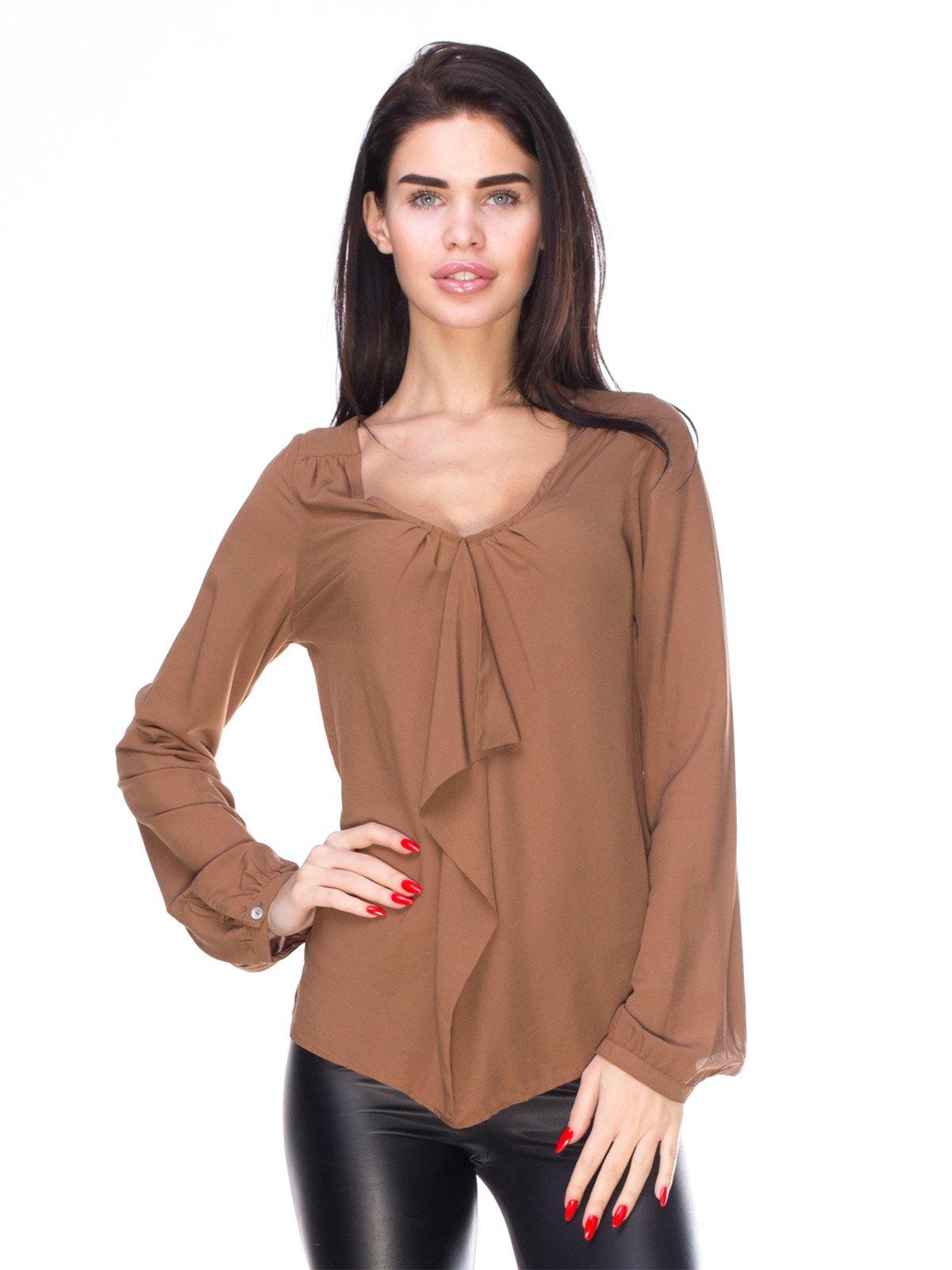 Блуза коричнева з воланом | 159483