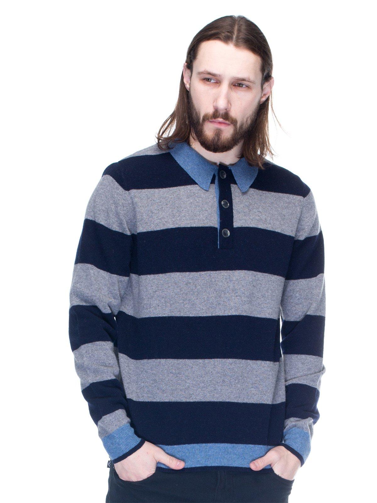 Джемпер двухцветный в полоску с отделкой голубого цвета | 1353702