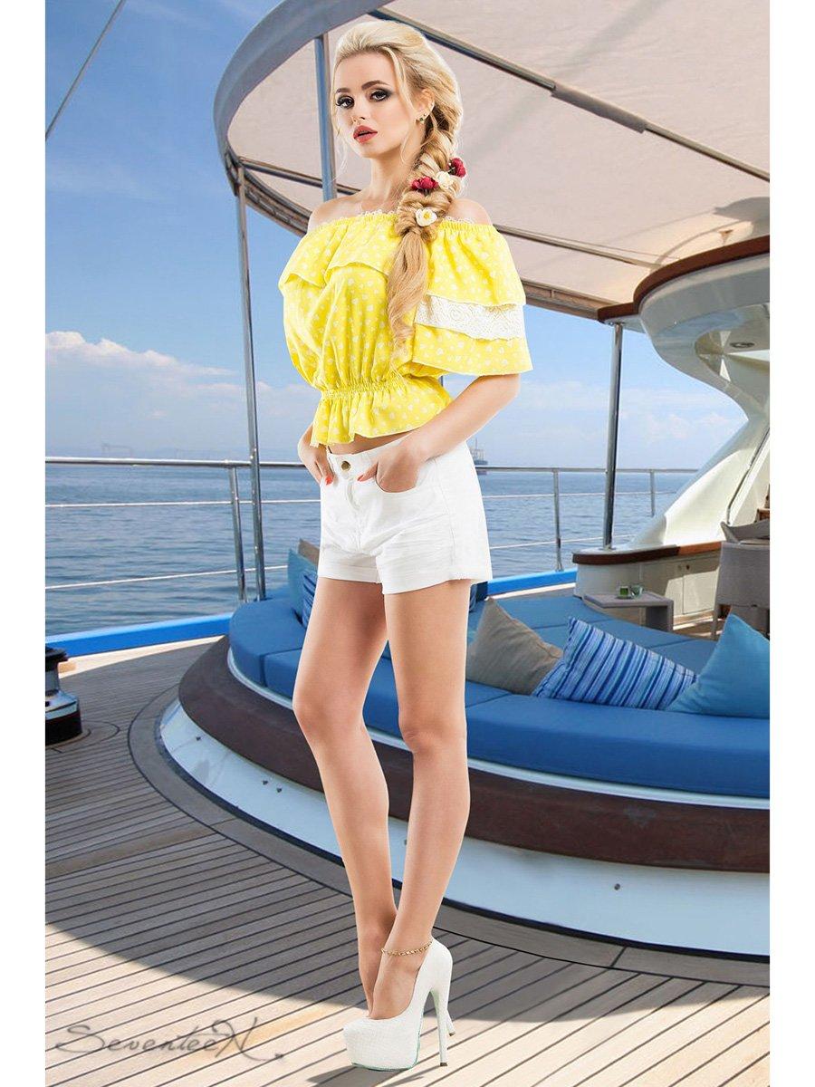 Блуза жовта в принт   2428422   фото 2